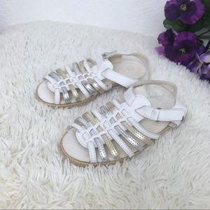 Toddler Ugg white and silver sandals size 11